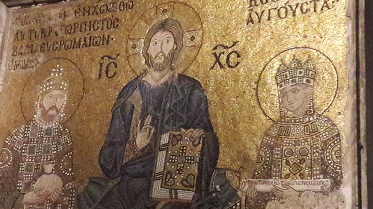 mosaïque de l'impératrice byzantine Zoé et Constantin IX à Sainte-Sophie de Constantinople à Istanbul Turquie