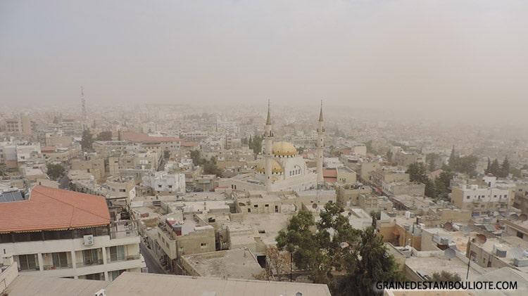 panorama de Madaba depuis le clocher de l'église Saint-Jean le Baptiste en Jordanie