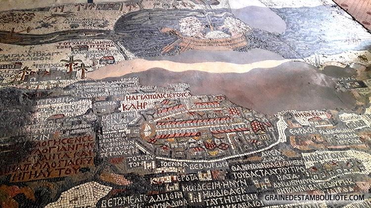 carte de Jérusalem et Palestine et Terre Sainte en mosaïque, église Saint-Georges de Madaba Jordanie