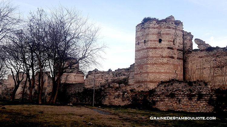 murailles de Constantinople vers la Porte de Topkapi, la porte du canon, probablement l'ancienne Porte Saint-Romain de Constantinople