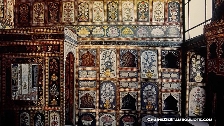 chambre au fruit du sultan Ahmet III, tulipes et fruits peints