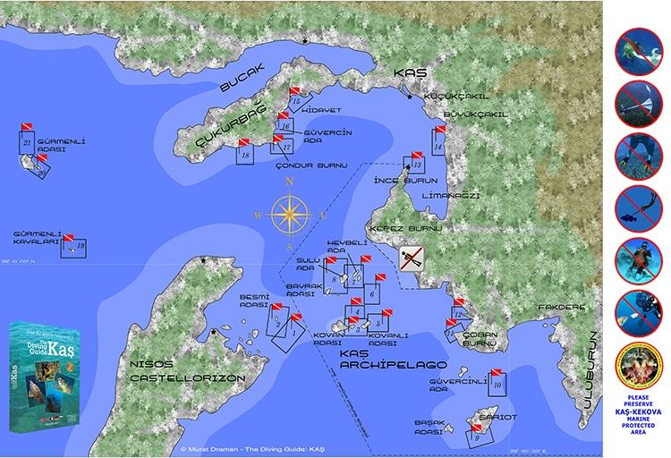 plonger à kas-kekova, spots de plongée, méditerranée